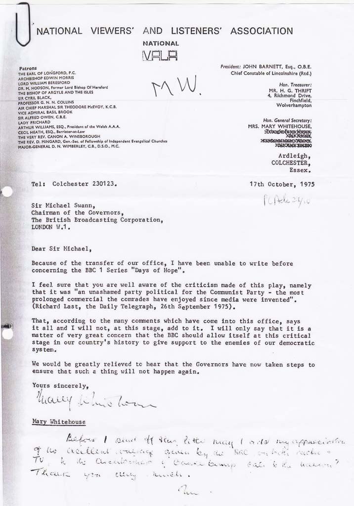 Mary Whitehouse Letter re: Days of Hope